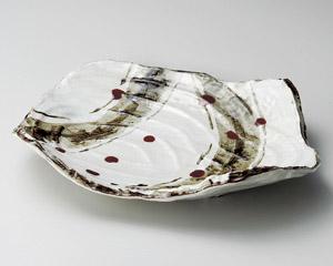 錆絵辰砂渦彫尺一盛込皿