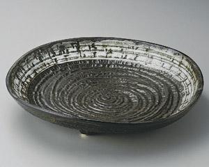 灰釉白流し尺三皿