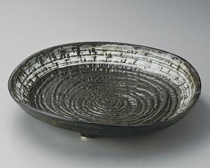 灰釉白流し尺皿