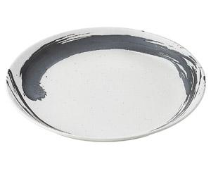 白玉粉引内黒刷毛深型尺二皿(ビュッフェスタイル)