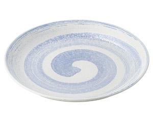 白玉粉引青刷毛渦深型尺二皿(ビュッフェスタイル)
