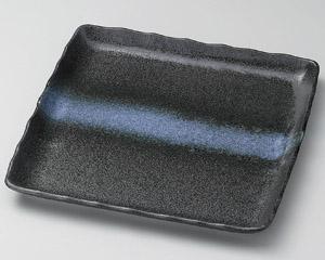 黒結晶白帯引正角皿