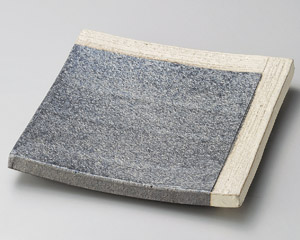 黒窯変角白掛け分け7.3足付角皿