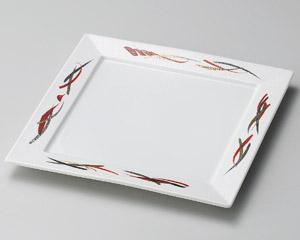 金銀赤彩正角8寸皿
