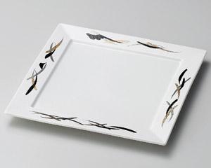 金銀 黒彩正角8寸皿