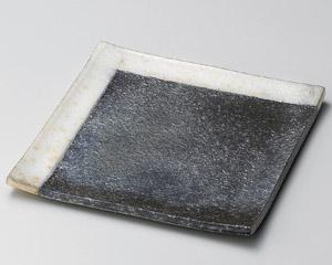 黒窯変角白掛け分け6.8角皿