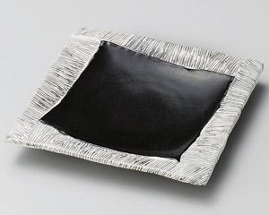 黒織部四辺筋皿