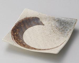 志野サビ刷毛正角5.5皿 画像1