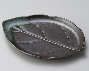 グリーン吹天目木の葉大皿