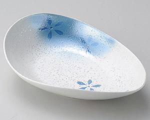 ラスター花散らし変型楕円鉢(ブルー)