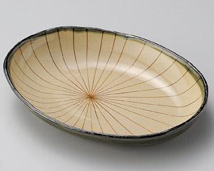 織部櫛目楕円8.0鉢