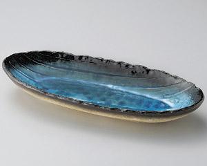 藍染スカイブルー手造り楕円長鉢(大)