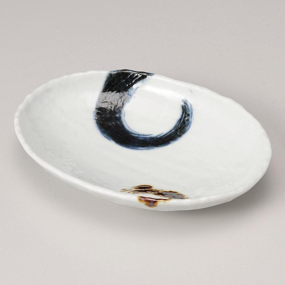 濃刷毛石目16cm楕円皿