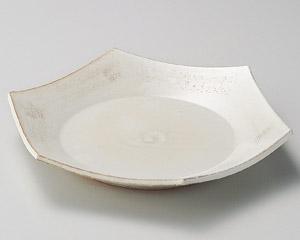 粉引櫛目六角大皿