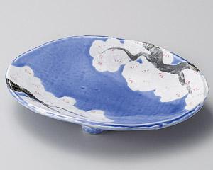 桜木コバルト三つ足楕円鉢