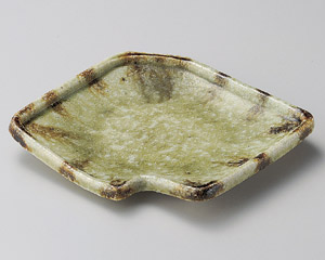 灰釉流し鍵型前菜皿