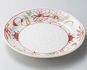 粉引釉古代赤絵7.0皿