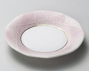 ピンク銀彩フルーツ皿