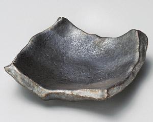 銀サビ黒ちぎり角皿(小)