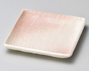 さくら志野角小皿