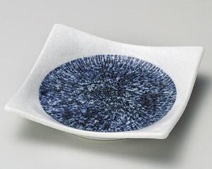 しぼり藍十草正角4.5皿