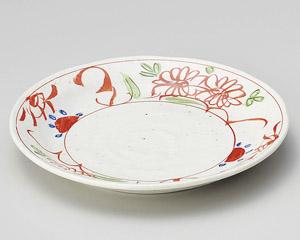 粉引釉古代赤絵4.0皿 画像