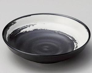 黒マット白刷毛4.0深皿