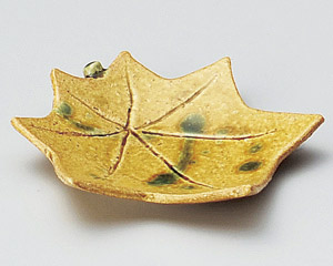 黄瀬戸紅葉皿