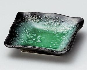 エメラルドグリーン華角小皿