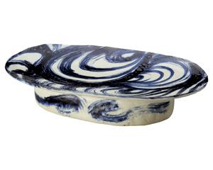 安南刷毛目高台楕円盛込皿(手造り)