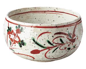 赤絵花紋特大丸鉢