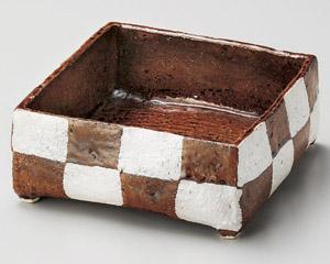 アメ釉銀彩手造り四角鉢