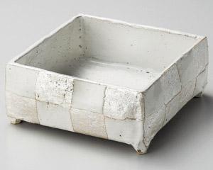 白釉銀彩手造り四角鉢