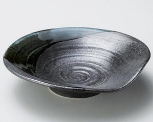 黒結晶緑流盛皿大