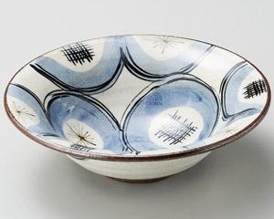 粉引呉須丸紋渕反7.5平鉢