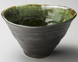 いぶし黒織部手造り鉢(大)