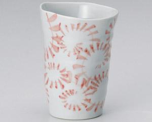 手造り唐草フリーカップ赤