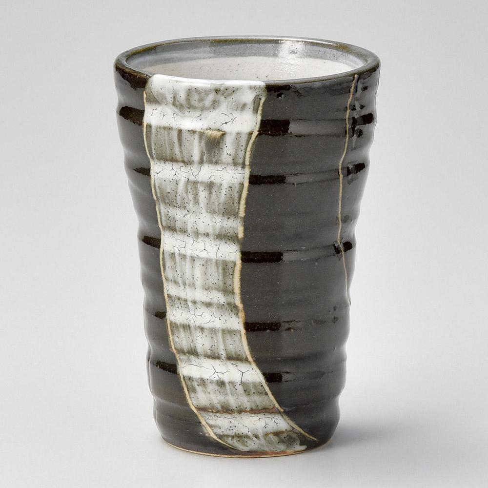 年輪 黒 ビアカップ