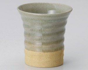 クシ目ガラス釉反フリーカップ