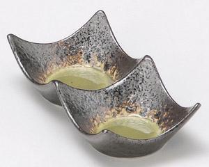 鉄仙花ヒワ四方上り二品皿(小)石目型