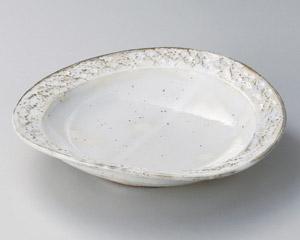 粉引 石目楕円盛皿