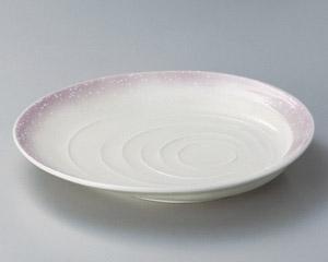 ピンク白吹波紋9寸皿
