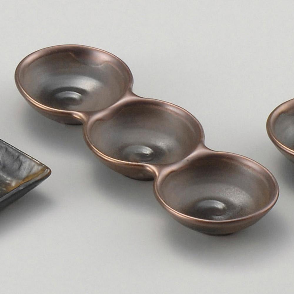 銅彩 丸三品皿