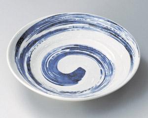 粉引吹き青流7.5寸麺皿