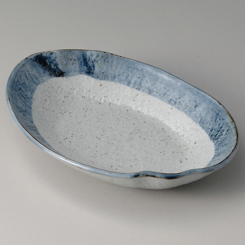 藍虹味 波型楕円8.0鉢