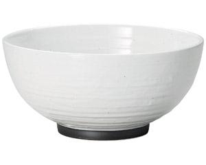 白玉粉引ハマ錆巻砂目5.8丸丼