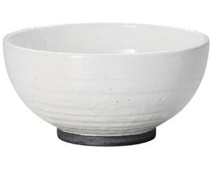 白玉粉引ハマ錆巻砂目5.0丸丼