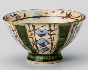 織部ペルシャ紋飯碗
