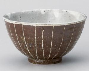 焼締彫十草新飯碗