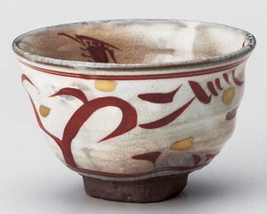 赤絵波茶碗